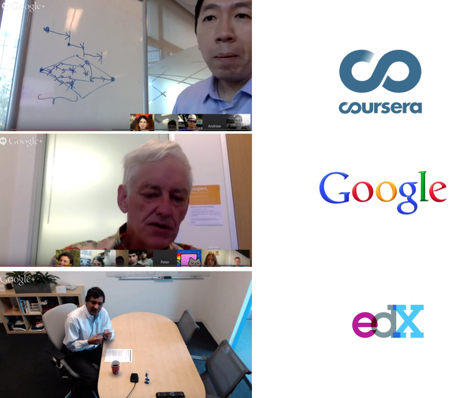 Crowd hangouts with Andrew Ng, Peter Norvig, Anant Agarwal